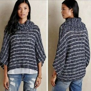 Anthro Moth M/L striped blue cocoon sweater